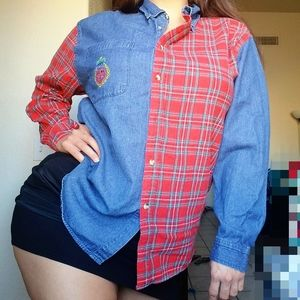 Vintage 90s spilt plaid and denim top
